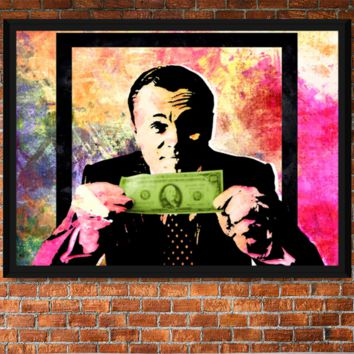 Money Talks DiCaprio Wolf of Wall Street Pastel Abstract Framed Canvas Wall Art With Black Frame