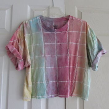 Customizable Festival Wear Rainbow Tie Dyed Crop Top
