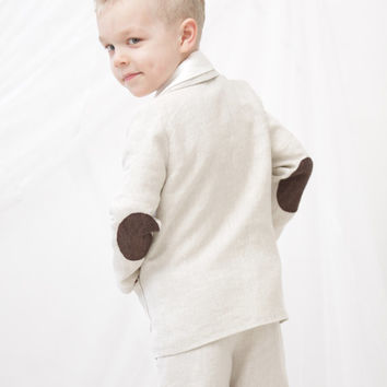 Boys clothing Boys natural linen blazer Toddler boy jacket with elbow patches Boys clothes Kids summer clothes