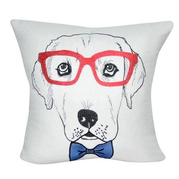 Pooch Pillows Lab with Red Glasses ~ White