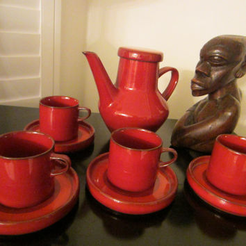 Ceracron Melitta Germany Red Ceramic Tea Service