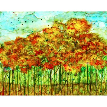 """""""Autumn Forest"""" Alcohol Ink Painting"""