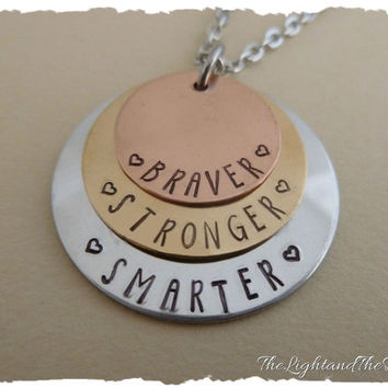 Hand Stamped Jewelry Stack Necklace Charm - Handmade Braver Stronger Smarter  Inspired by Winnie The Pooh - Copper Brass jewelry - necklace