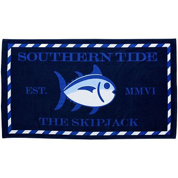 Skipjack Beach Towel in Yacht Blue by Southern Tide