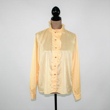 70s Yellow Blouse Satin Long Sleeve Button Up High Neck Ruffle Top Loose Fitting Top Womens Blouses Medium Vintage Clothing Womens Clothing