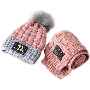 Christmas Winter children boys cap girls hat scarf set kids knitting warm crochet cap age size 2 3 4 5 6 7 8 9 10 11 12 years