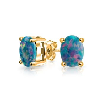 Black Created Opal Solitaire Stud Earrings 14K Gold Plated Sterling