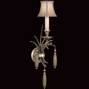 Fine Art Lamps 808550ST Villa Vista One-Light Wall Sconce in Hand Painted Driftwood Finish On Metal with Silver Leafed Accents