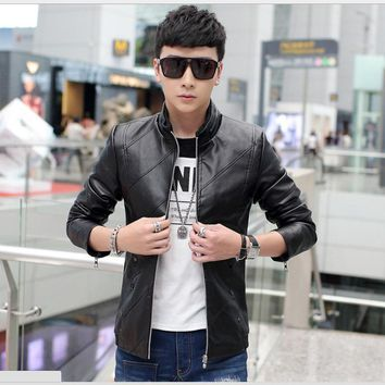 PU Leather Jacket Men Black Red Brown Solid Mens Faux Fur Coats Trend Slim Fit Younth Motorcycle Suede Fashion Jacket Male