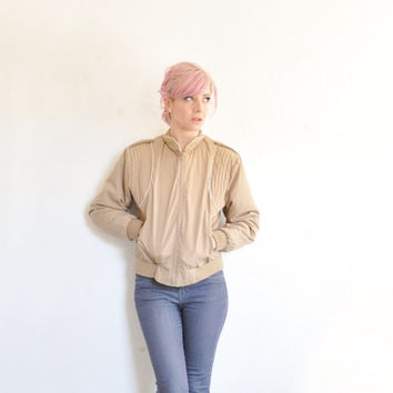 taupe 1980 Skyline cotton jacket . zip out lining . for cool and cold weather .small