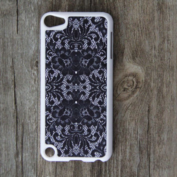 Black  White Lace Floral iPod Touch 5 case and iPod Touch 4 Case,iTouch 5/4 Rubber Case