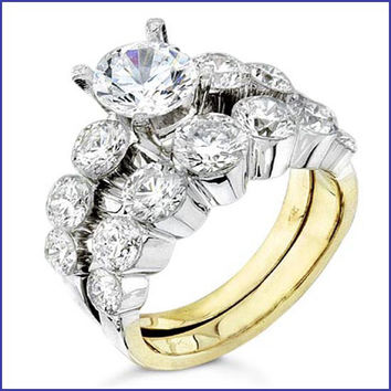 Gregorio 18K Two Tone Diamond Engagement Ring and Band  R-0082