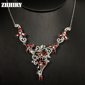 Natural garnet gem stone wedding necklace 925 sterling silver Platinum plated women wear fine jewelry noble