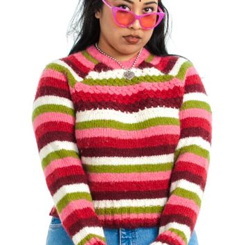 Vintage 90's Candy Girl Striped Sweater - One Size Fits Many