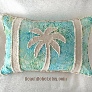 Palm tree boho bolster pillow cover, aqua leaf batik with green and yellow and natural unbleached denim 12x18