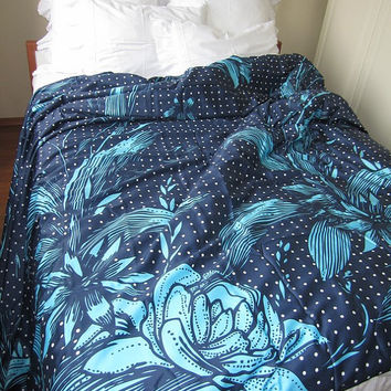 Navy royal turquoise blue floral Custom Duvet cover US UK AU Cal King Queen Double Full Turkish cotton sateen Turkey Istanbul style