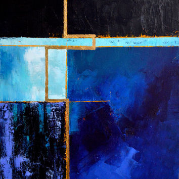 Original Abstract Painting, abstract architectural art, blue black purple gold art, geometric painting, minimalist art by Julianne Strom