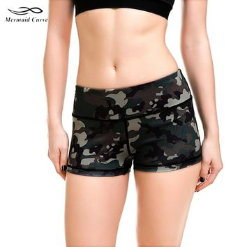 Mermaid Curve Middle Waist Slim Fitness Sports Workout Camouflage Shorts Women Fitness Jogging Gym Sexy Short Trousers S-XXXXL