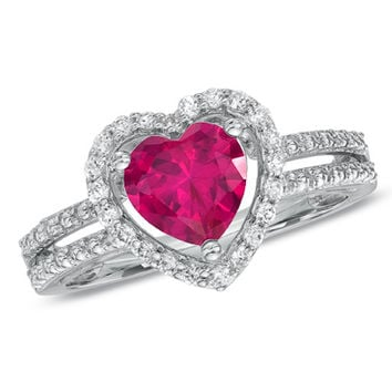 7.0mm Heart-Shaped Lab-Created Ruby and White Sapphire Heart Frame Ring in Sterling Silver