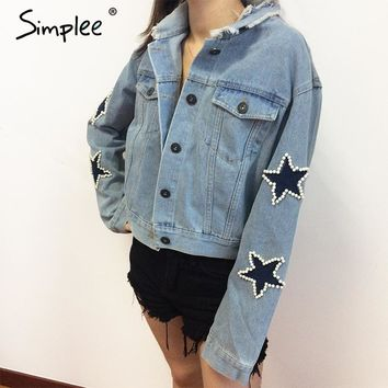 Simplee Applique casual ripped denim jacket coat Women vintage pocket jeans jacket Female button autumn winter jacket outerwear