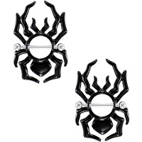 "14 Gauge 5/8"" Black Tribal Halloween Spider Nipple Shield Set"