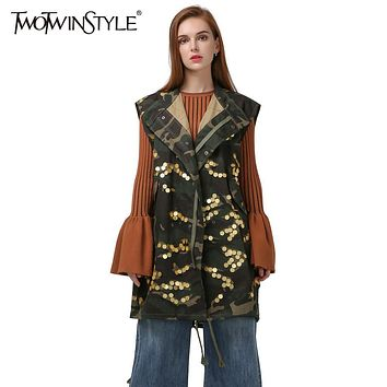 [TWOTWINSTYLE] Korean Camouflage Denim Vest Long Trench Women Sequined Coats 2017 Autumn New Streetwear