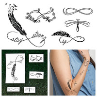 Infinity Feathers Set - Temporary Tattoo Pack (Set of 10)