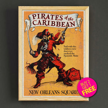 Vintage Pirates of the Caribbean Print New Orleans Disneyland Attraction Poster Home Wall Decor Gift Linen Print - Buy 2 Get 1 FREE - 362s2g