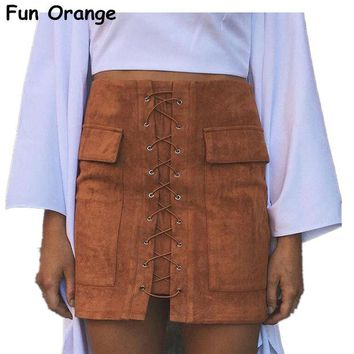 VOND4H Lady Autumn Lace Up Suede Leather Women Skirt 90's Vintage Pocket Preppy Short Skirt Winter High Waist Casual Skirts