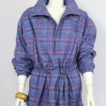 80s/90s - Cranberry & Blue - Abstract Plaid - Cinched Waist - Anorak - Parka - Nylon Jacket - Zip Up - High Collar - Pullover Raincoat