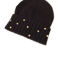 Spiked Fold-Over Knit Beanie: Charlotte Russe