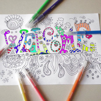 WELCOME adult coloring book page instant download colouring art therapy book home decor meditation printable print digital lasoffittadiste