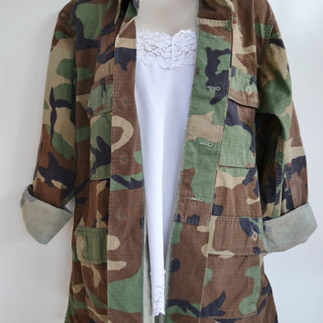 Vintage Military Camo Shirt Coat Jacket Army Camo Shirt Woodland Camo BDU