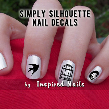 Birdcage Nail Decals Black and Clear Simply Silhouette by Inspired Nails