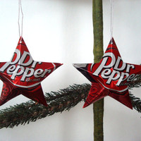 Recycled Dr. Pepper Soda Can Aluminum Stars - Set of 2 Hand Made Upcycled Christmas Ornaments