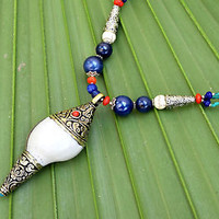 Sea Shell Pendant Necklace Tibetan Lapis Bead Bohemian Ethnic Jewelry Gypsy Boho