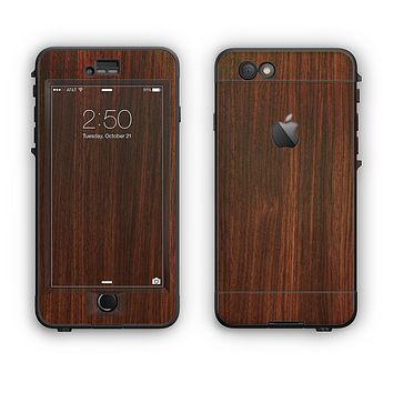 The Dark Walnut Stained Wood Apple iPhone 6 LifeProof Nuud Case Skin Set