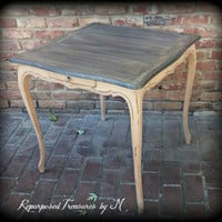 Rustic side table, distressed side table, antique accent table, shabby chic table, distressed accent table, painted table, queen anne table