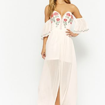 Chiffon Floral Off-the-Shoulder Maxi Dress