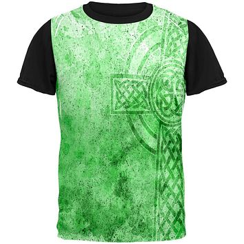 St. Patricks Day Dirty Irish Celtic Cross All Over Mens Black Back T Shirt