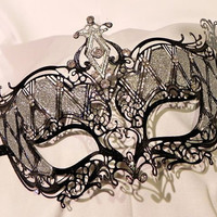Black and Silver Metallic Masquerade Mask by TheCraftyChemist07
