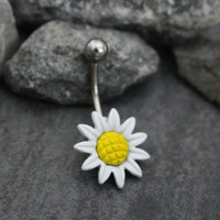 Belly Bar, Belly Button Rings Flower, Navel Piercing, Navel Jewelry, Daisy Sunflower Sun 14 Gauge 316L Surgical Stainless Steel