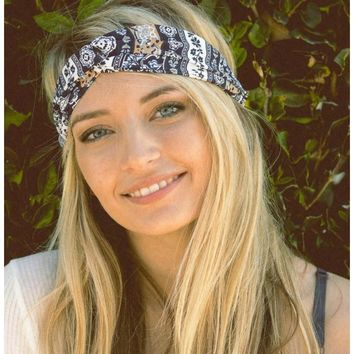 Bohemian Twist Headband in Blue