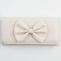 Faux Leather Bow Wallet Ivory One Size For Women 22866616001