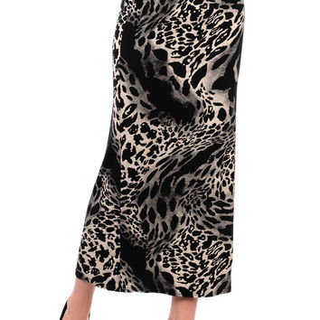 Black Animal Print Maxi Skirt