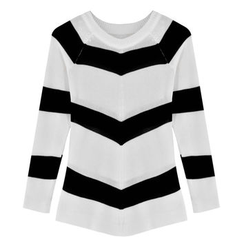 Stripe Knitted Long Sleeve Shirt