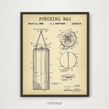 Punching Bag Patent, 4 COLORS, Printable Patent, Boxing Poster, Boxer Gift, Sports Wall Art, Boxing Print, Patent Print Digital Download