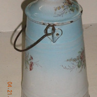 Antique French Enamelware Painted Flowers Milk Pail