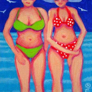 Whimsical Women Beach Seashore Coastal Body Image 9x12 Glicee Print from original colorful painting - Apples and Pears - Korpita ebsq