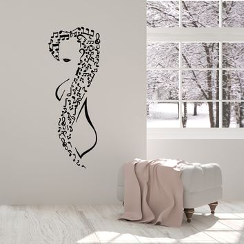 Vinyl Wall Decal Musical Girl Music Notes Teen Room Decor Art Stickers Mural (ig5633)